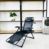 Ghế xếp thư giãn cao cấp SUMIKA 168 - Có thể ngã thành giường nằm, vải lưới Textilene thoáng khí, gối có thể tháo rời, tải trọng 300kg, khung ghế bằng thép không gỉ, đế chống trượt