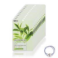 Combo 10 Miếng Mặt Nạ Trà Xanh Benew Natural Herb Mask Green Tea ( 22ml / miếng ) [ Tặng dây cột tóc ]