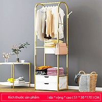 Tủ quần áo 2 ngăn kéo gỗ khung sắt mạ vàng đẹp - Tủ kệ để đồ phụ kiện có giá treo quần áo túi xách thông minh