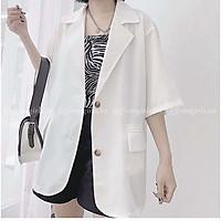 Áo vest blazer nữ cộc tay chất mát dáng rộng 2 khuy cá tính