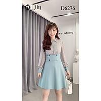 Đầm dáng suông màu Xanh Phối Tơ Hoa, váy nữ cao cấp tôn dáng LINBI D6276