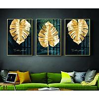 Bộ tranh lá vàng ánh kim - Tranh canvas