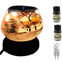 Combo Đèn xông tinh dầu tam giác TG01 và 2 chai tinh dầu sả chanh Eco oil 10ml và 1 bóng đèn