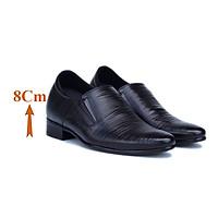 Giày Tăng Chiều Cao Nam T&TRA Tăng Cao 8Cm- S970 Đen Dập Vân Sọc- Chất Liệu Da Bò Cao Cấp, Đế Cao Su Ghép, Phần Tăng Cao Ẩn Bên Trong