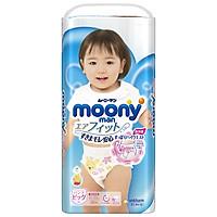 Tã/bỉm quần moony xanh không cộng miếng nội địa Nhật Bản size XL bé gái 38 miếng ( cho bé từ 12-22kg)
