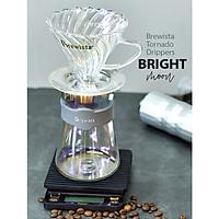 Bộ phễu V60 pha cà phê pour over thủy tinh Brewista Tornado Dripper & Server - Màu ánh trăng