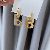 Hoa tai vòng tròn dầy treo chữ b phong cách đơn giản hiện đại cá tính âu mỹ-HTV7513