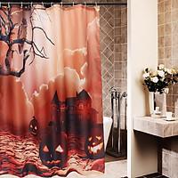 Halloween Owl Pumpkins Haunted House Old Tree Bathroom Shower Curtain 150*180cm