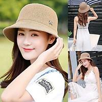 Mũ cói, nón cói đi biển thời trang form dáng basic đính chữ M siêu xinh MD13
