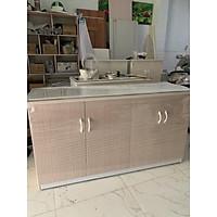 Tủ bếp nhựa đài loan mặt bếp dán gạch 145x80(TPHCM)