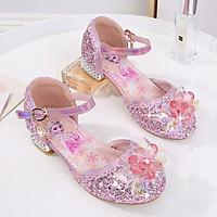 Giày Elsa bé gái cao gót khoét eo đính hoa tuyết pha lê từ 3 - 12 tuổi