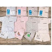 Combo 5 bộ quần áo cọc tay (mẫu kẻ ) mặc màu hè cực mát cho bé sơ sinh từ 0 tháng đến 14 tháng