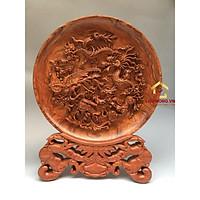 Đĩa gỗ trang trí tứ linh bằng gỗ hương đường kính đĩa 30 - 35 - 40 cm dày 4 cm