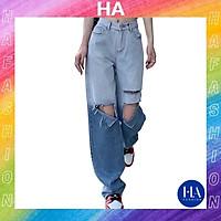 Quần Jean Nữ Ống Rộng H&A Fashion Lưng Cao 2 Màu Rách Gối TBQBB37