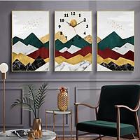 Tranh treo tường, tranh đồng hồ NT201 bộ 3 tấm ghép