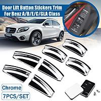 7PCS Chrome Door Lift Button Stickers Trim Cover For Benz A/B/E/C/GLA Class X166