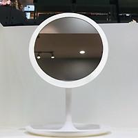 Gương để bàn tròn đèn Led 1 mức ánh sáng kèm cổng sạc 18x26,5cm