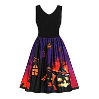 Women's Halloween Sleeveless V Neck Pumpkins Evening Costume Swing Dress