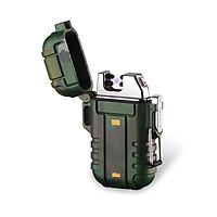 Hộp Qụet Bật Lửa Quân Đội QD12-02 Sạc Điện Thiết Kế Độc Lạ, Chống Nước - 2 Tia Lửa Plasma Đan Chéo