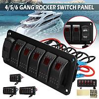 Waterproof 4/5/6 Gang LED Rocker Switch Panel 12V / 24V Dual USB Charger Voltmeter for Car Marine Boat RV