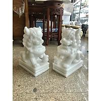Cặp Kỳ Lân phong thủy gác cổng đá cẩm thạch trắng - Cao 30 cm