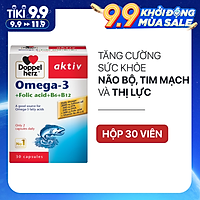 Viên uống tăng cường thị lực, tim mạch và não bộ Doppelherz Aktiv Omega-3 + Folic acid + B6 + B12 (Hộp 30 viên)