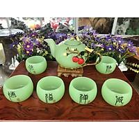 Bộ ấm trà chạm cây táo với ly chạm chữ đá ngọc cẩm thạch xanh