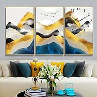 Tranh treo tường, tranh đồng hồ NT174 bộ 3 tấm ghép