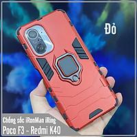 Ốp lưng cho Xiaomi Poco F3 - Redmi K40 iRON MAN IRING Nhựa PC cứng viền dẻo chống sốc
