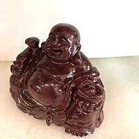 Phật để xe hơi phật di lặc ngọc Việt Nam đá tự nhiên màu đỏ canxite đen cho người mệnh Thổ và Hỏa  nặng 1kg cao 12 cm