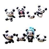 8pcs Miniature Panda Dollhouse Fairy Garden Bonsai Pot DIY Decor Craft Bear
