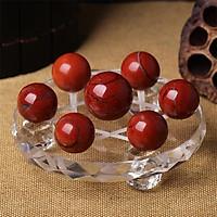 Đĩa Thất Tinh Trận Đồ Đá Ngọc Bích Đỏ Tự Nhiên - Maxi - 15cm - Hợp Mệnh Hỏa, Mộc