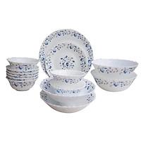 Bộ 16 món bát đĩa bằng thủy tinh ngọc OPAL-B Hoa văn BLUE MYSTIQUE