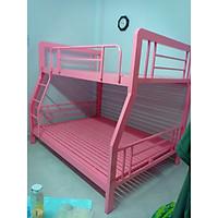 Giường tầng sắt hộp vuông trẻ em cao cấp 1m4-1m6 màu hồng loại tốt