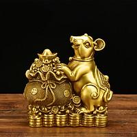 Tượng con chuột bên bao tài lộc bằng đồng thau phong thủy Hồng Thắng