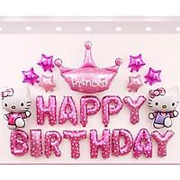 Set bóng trang trí sinh nhật hello kitty kèm bơm và băng keo