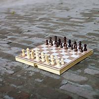 Đồ chơi thông minh cho trẻ em bằng gỗ, bộ cờ vua làm bằng gỗ tự nhiên kiêm hộp đựng và bàn cờ - Tặng Kèm Móc Khóa 4Tech