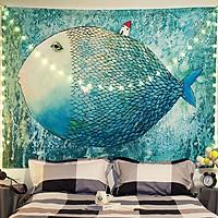 Tranh vải treo tường TV13 - FISH & HOME Marytexco décor nhà cửa, phòng ngủ, phòng trọ sinh viên KT 150*130cm TẶNG kèm 4 đinh + 4 kẹp + ĐÈN LED USB 6M