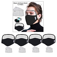 4x Cotton Face Mask Reusable Cycling Mask Safety Protection Eye Mask - Black