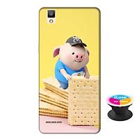 Ốp lưng nhựa dẻo dành cho Oppo A53 in hình Heo Con Bánh Quy - Tặng Popsocket in logo iCase - Hàng Chính Hãng