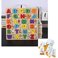 Đồ chơi Bảng Song Ngữ Chữ Cái Nổi In Hoa Tặng Kèm Bộ Thẻ Cho Bé Học Chữ Cái Và Số Đếm