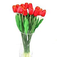 Hoa giả-Cành Hoa Tulip Đơn màu Đỏ hoàng hôn