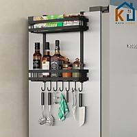 Kệ dán tủ lạnh Size M 2 Tầng Thép Cacbon không gỉ Son tĩnh điện Đen Cao Cấp