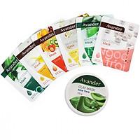 Combo 7 mặt nạ Avander: 1 Hũ Mặt nạ đất sét nha đam + 6 Mặt na giấy (Trà Xanh, Ngọc Trai, Nha đam, Trái cây, Ốc sên, collagen)