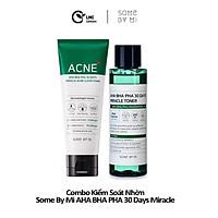Bộ 2 sản phẩm dành cho da dầu, mụn some by mi AHA-BHA-PHA 30 days miracle acne clear foam and toner full size