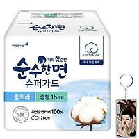 Băng vệ sinh Kleannara SooHan siêu mỏng cánh Hàn Quốc (26cm x16 miếng) + Móc khoá