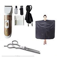 Tông đơ cắt tóc KM9020 tặng kèm kéo tỉa vào áo choàng cắt tóc