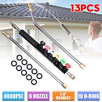 """13Pcs/Set 4000PSI Pressure Washer Wand Extension Replacement Lance with 6 Spray Nozzle Tips, 1/4"""" Quick Connect with 10 Replaceable Anti-Leaked Ring"""