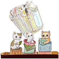Hộp 30 Bookmark Đánh Dấu Sách Hình Mèo - 15.5x4.5cm