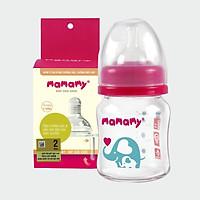 Combo bình sữa thủy tinh cổ rộng chống sặc cho bé Mamamy 120ml + 1 hộp núm ti size S/M/L